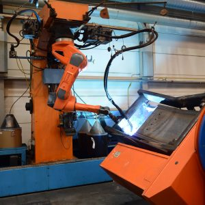 Robotic tandem welding machine