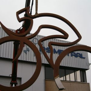 Steel sculpture of Tour de France